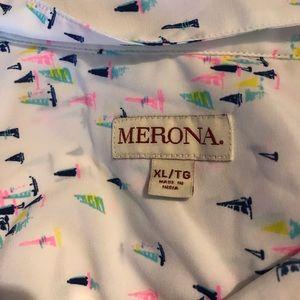 Merona Tops - Merona Target White Sailboat Blouse Pink Sleeveles